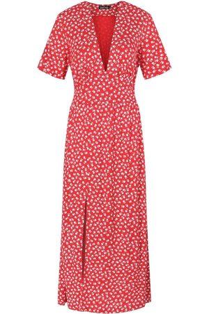 Boohoo Tall Woven Floral Spot Print Midi Dress