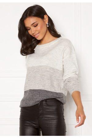 JDY Elanora L/S Stripe Pullover Dk Grey Melange Bloc XS