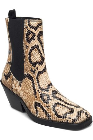 Selected Slfava Snake Leather Chelsea Boot B Shoes Boots Ankle Boots Ankle Boots With Heel Beige