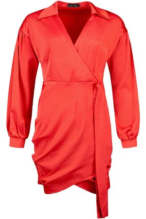 Boohoo Satin Wrap Puff Sleeve Mini Dress