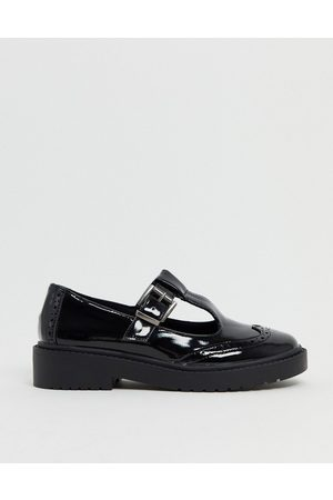 ASOS Maisie chunky mary-jane flat shoes in black patent