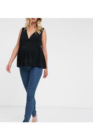 Mama Licious Dame Skinny - Mamalicious Maternity over the bump skinny jeans in blue