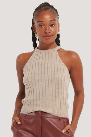 NA-KD Ribbed Knitted Cropped Singlet
