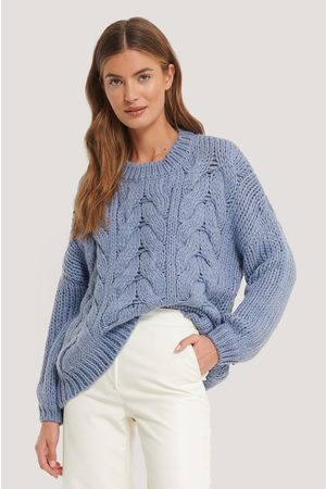 NA-KD Dame Strikkegensere - Wool Blend Round Neck Heavy Knitted Cable Sweater