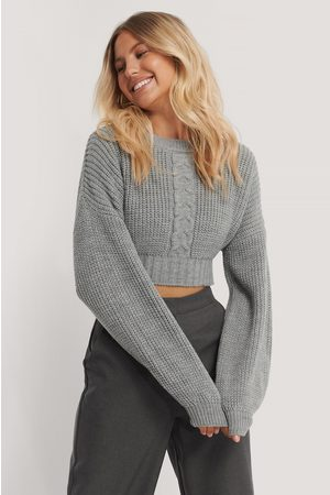 NA-KD Cropped Cable Knit Sweater