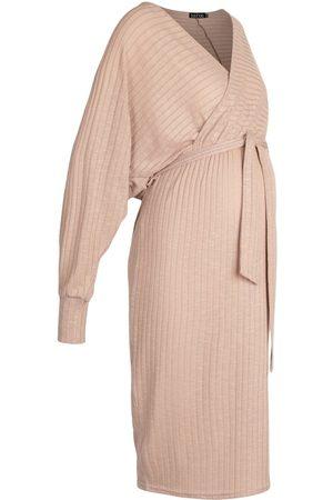 Boohoo Maternity Knitted Rib Wrap Jumper Dress