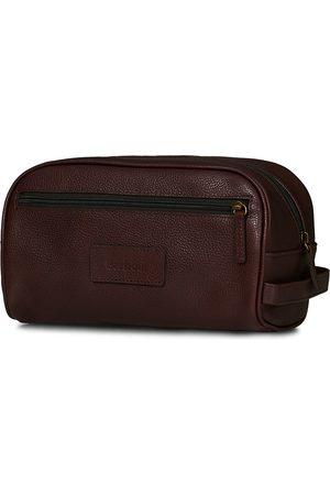 Barbour Leather Washbag Dark Brown