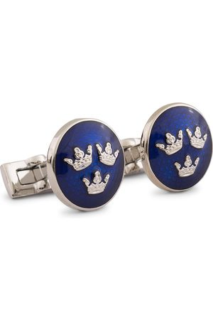 Skultuna Cuff Links Tre Kronor Silver/Royal Blue