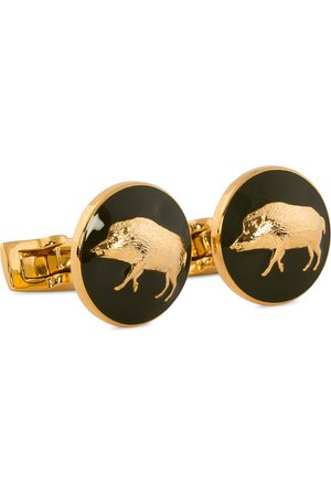 Skultuna Cuff Links Hunter Wild Boar Gold/Green