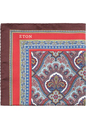 Eton Silk Paisley Print Pocket Square Red