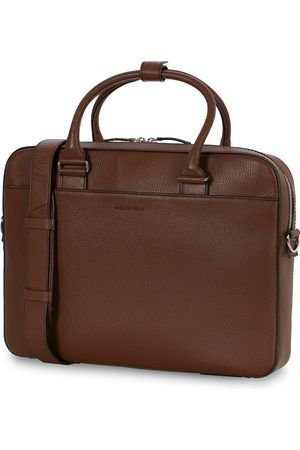 Tiger of Sweden Bosun Grained Leather Briefcase Brown