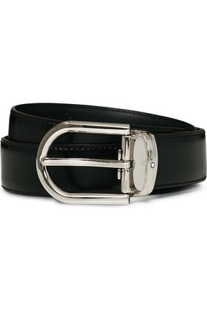 Mont Blanc Herre Belter - Horseshoe Coated Buckle 30mm Leather Belt Black