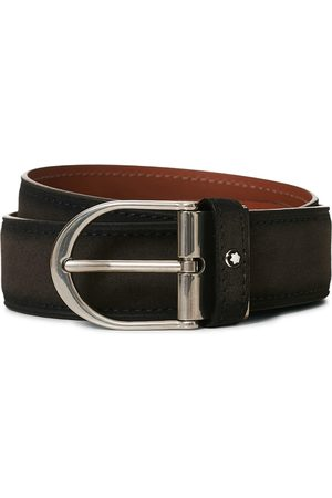 Mont Blanc Horseshoe Buckle Belt 35mm Grey Suede