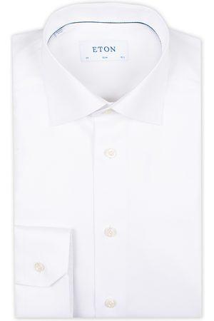 Eton Slim Fit Textured Twill Shirt White