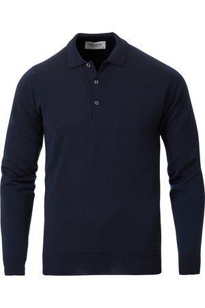 JOHN SMEDLEY Belper Extra Fine Merino Polo Pullover Midnight
