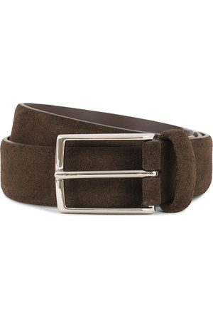 Anderson's Calf Suede 3,5 cm Belt Dark Brown