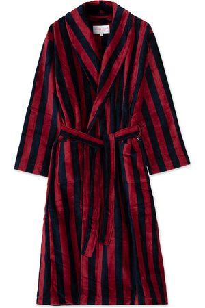 DEREK ROSE Cotton Velour Striped Gown Red/Blue