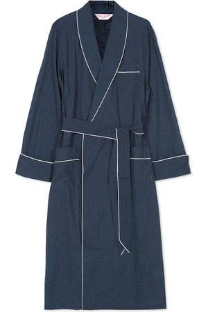 DEREK ROSE Polka Dot Cotton Satin Dressing Gown Navy