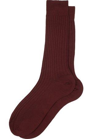 Bresciani Wool/Nylon Ribbed Short Socks Burgundy