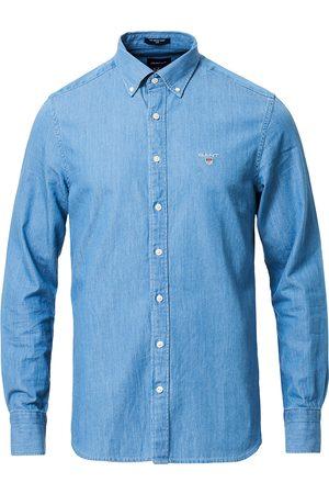 GANT Herre Skjorter - Slim Fit Indigo Shirt Semi Light Blue