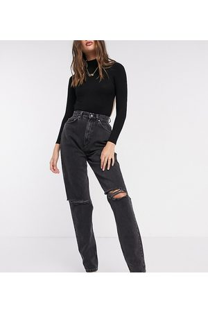 ASOS ASOS DESIGN Tall high rise 'slouchy' mom jeans in washed black with rips