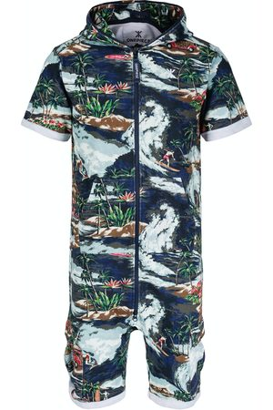 Onepiece Onesies - The Vintage Hawaii Short Jumpsuit Blue Mix