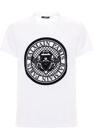 Balmain Herre Kortermede - Flocked Coin Cotton Jersey T-shirt