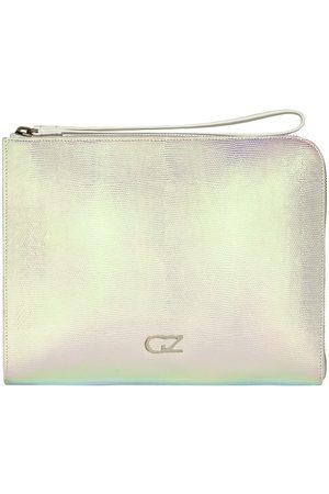 Giuseppe Zanotti Metallic-print zipped clutch bag