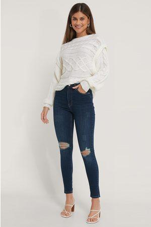 NA-KD Skinny High Waist Destroyed Jeans