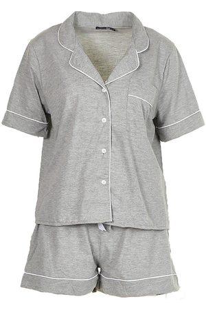 Boohoo Jersey Button Through PJ Short Set