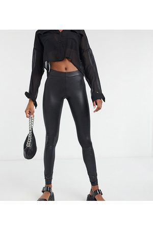 Noisy May Leather look leggings in black