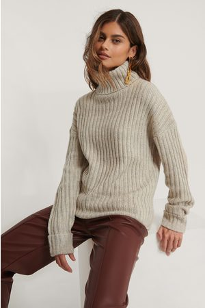 NA-KD Dame Pologensere - Turtleneck Ribbed Knitted Sweater