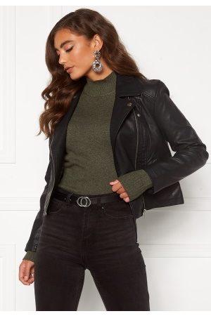 JACQUELINE DE YONG Simba Faux Leather Jacket Black 40