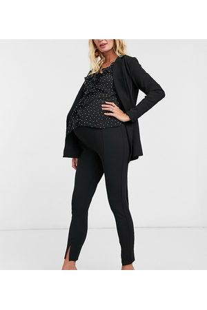 ASOS ASOS DESIGN Maternity jersey slim split front suit trousers in black