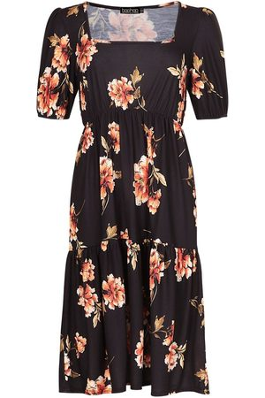 Boohoo Floral Print Square Neck Tiered Midi Dress