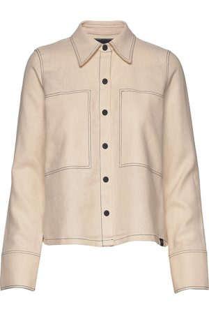 Scotch&Soda Long Sleeve Shirt With Contrast Stitching Overshirts Beige