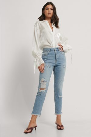 NA-KD Dame Mom - Ripped Detail Mom Jeans