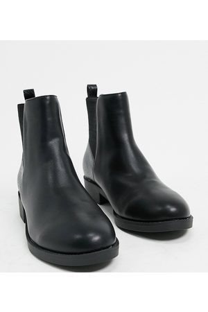 London Rebel Wide Fit chelsea boots in black