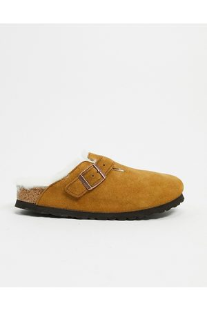 Birkenstock Boston clogs in mink with fur lining-Tan