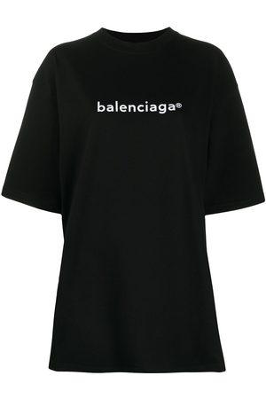 Balenciaga Dame Kortermede - Oversized logo-print T-shirt