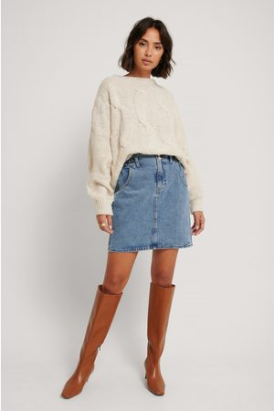 MANGO Paperbag Denim Skirt