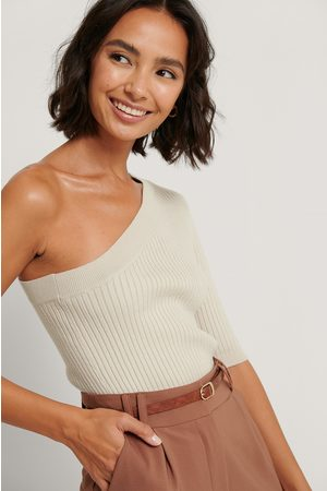 NA-KD Dame Topper - One Shoulder Knitted Top