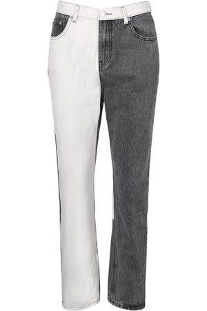 Boohoo Colour Block High Raise Straight Leg Jean