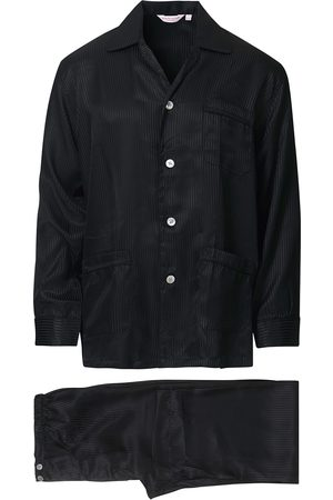DEREK ROSE Striped Silk Pyjama Set Black
