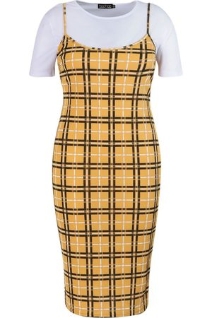 Boohoo Plus Check Rib 2 in 1 Pinafore Dress