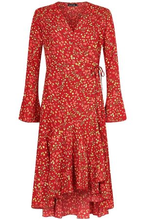 Boohoo Tall Floral Print Wrap Midi Dress