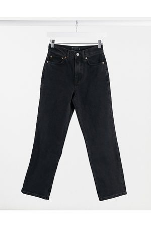 ASOS High rise stretch 'slim' straight leg jeans in washed black