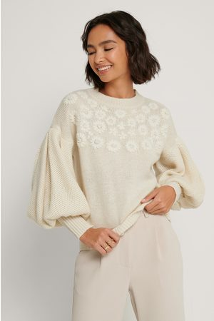 NA-KD Flower Embroidered Balloon Sleeve Sweater