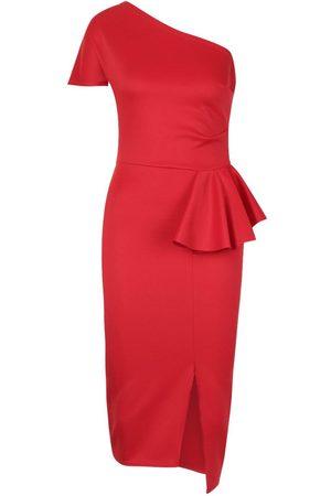 Boohoo One Shoulder Split Midi Dress