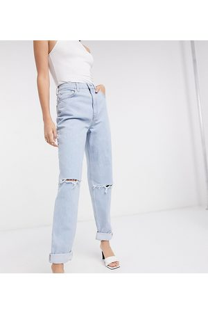 ASOS Dame High waist - ASOS DESIGN Tall recycled high rise 'slouchy' mom jeans brightwash-Blue
